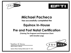 Equinox Pre And Post Natal Cert