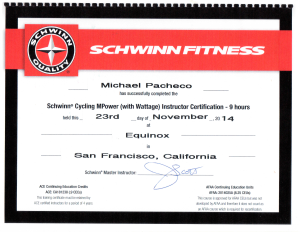 Schwinn Certified Cycling Instructor
